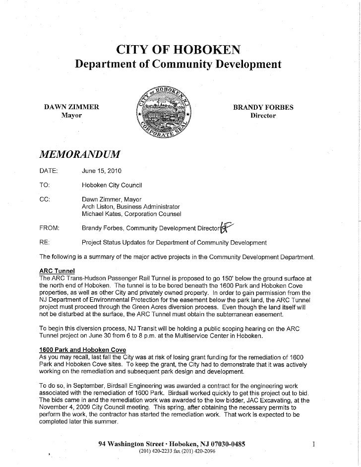 Memorandum 6-16-10 hoboken