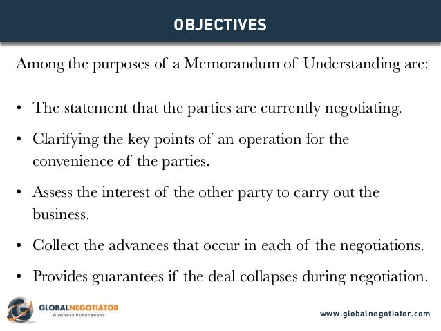 Memorandum Of Understanding  Models For Business Negotiations