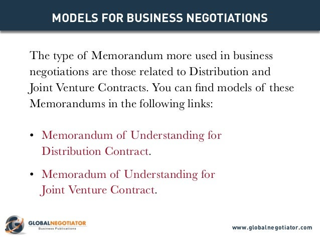 Memorandum of understanding models for business negotiations objectives globalnegotiator 4 the type of memorandum spiritdancerdesigns Images