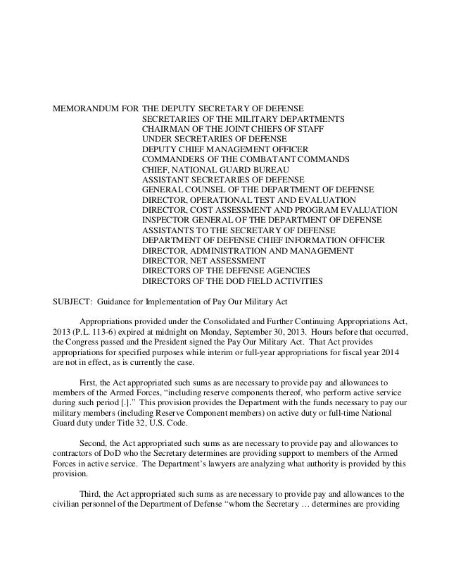 MEMORANDUM FOR THE DEPUTY SECRETARY OF DEFENSE SECRETARIES OF THE MILITARY DEPARTMENTS CHAIRMAN OF THE JOINT CHIEFS OF STA...
