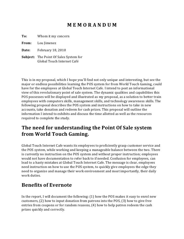 M E M O R A N D U M <br />To:Whom it my concernFrom:Lou JimenezDate:February 18, 2010 Subject:The Point Of Sales System fo...