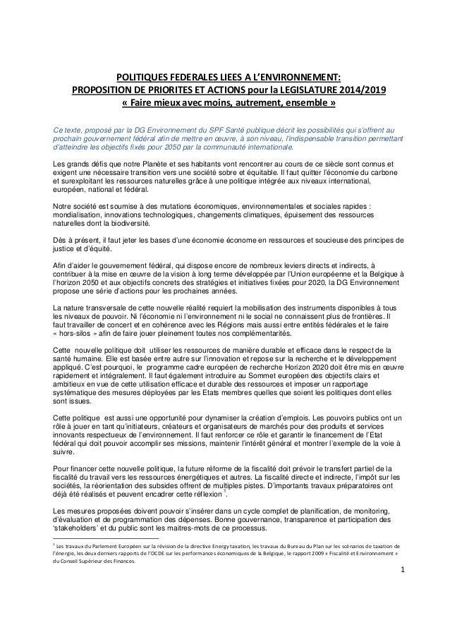 POLITIQUES FEDERALES LIEES A L'ENVIRONNEMENT: PROPOSITION DE PRIORITES ET ACTIONS pour la LEGISLATURE 2014/2019 « Faire mi...