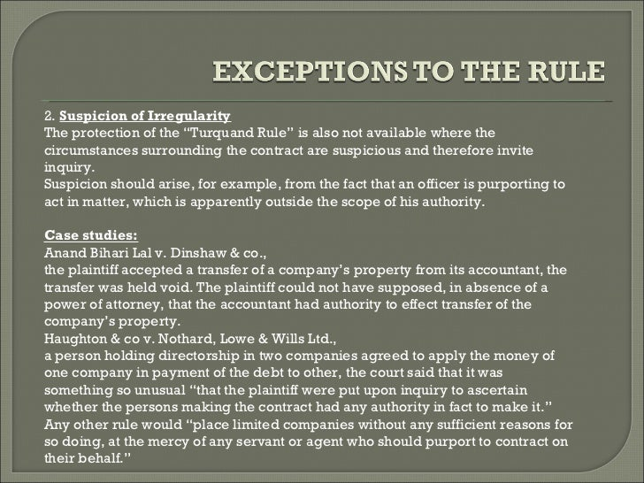 The rule in turquands case