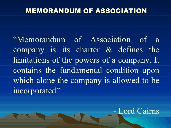 importance of memorandum of association