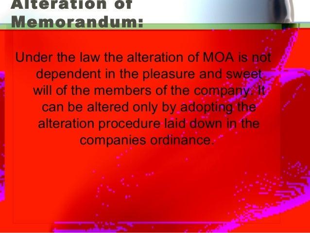 Section 13: Alteration of memorandum.