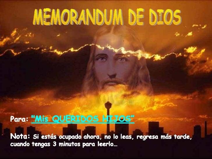 MEMORANDUM DE DIOS