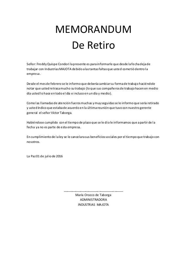 memorandum de retiro