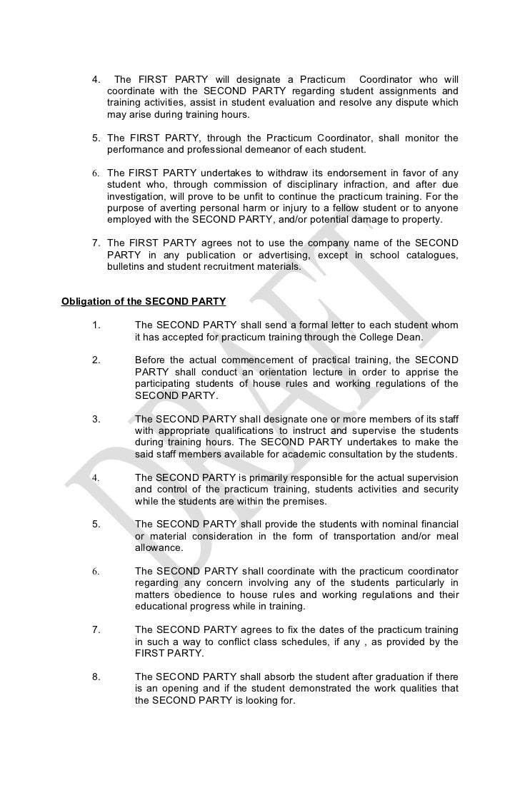 Memorandum of agreement – Sample Memorandum of Agreement