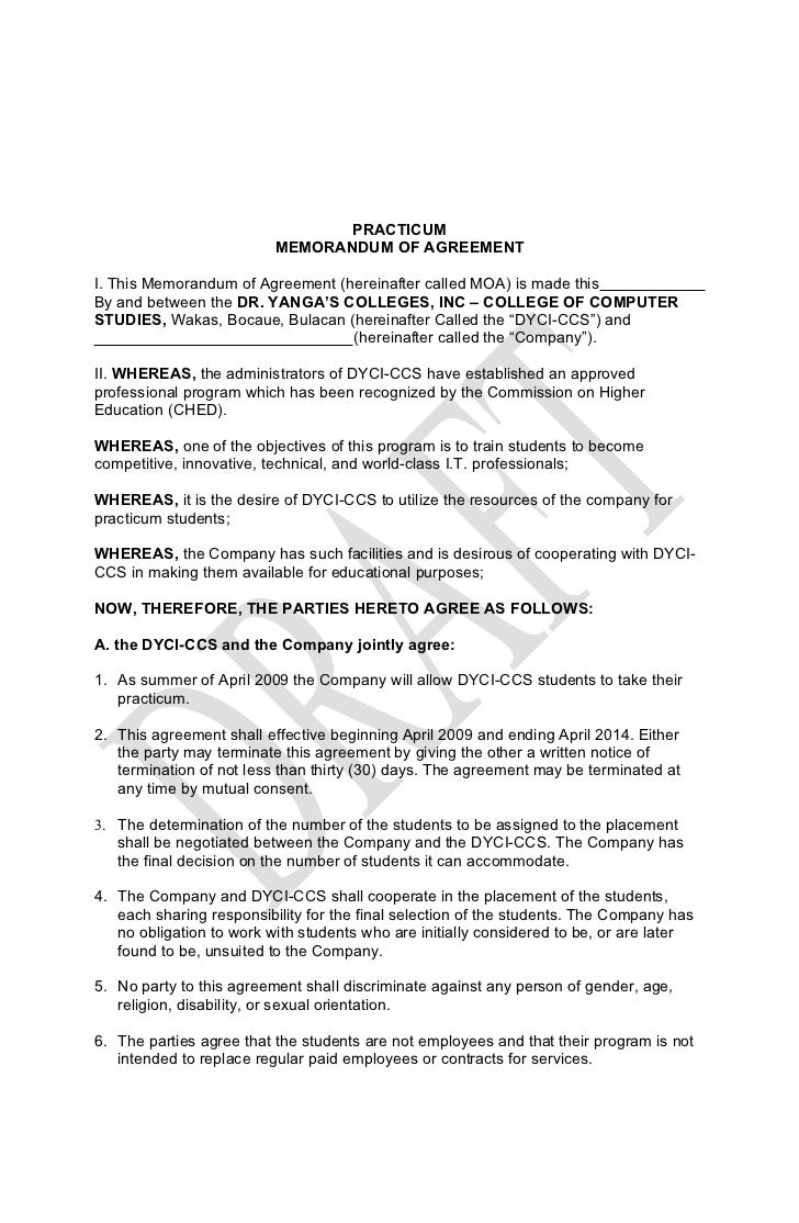 Letter Of Intent Template Memorandum Of Agreement Philippine Legal