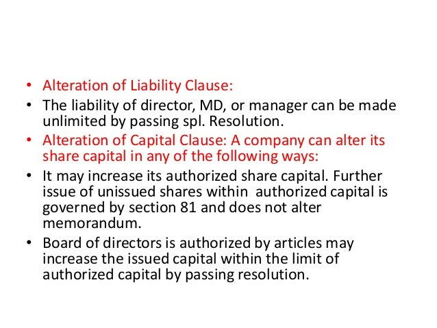 alteration of memorandum of association companies act 2013