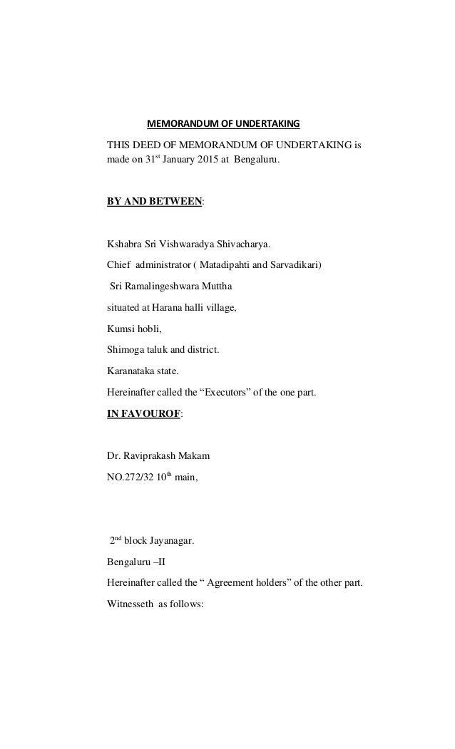 Memorandum Of Undertaking