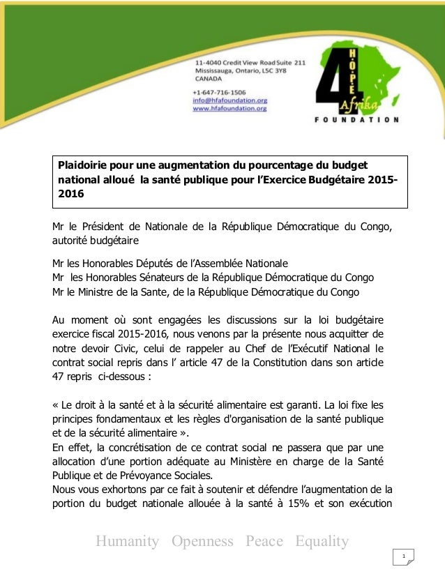 Humanity Openness Peace Equality 1 Mr le Président de Nationale de la République Démocratique du Congo, autorité budgétair...