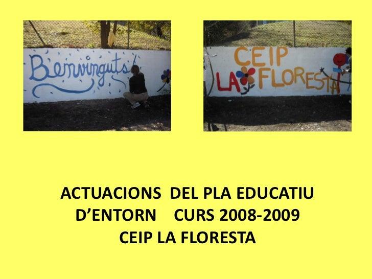 ACTUACIONS DEL PLA EDUCATIU D'ENTORN CURS 2008-2009      CEIP LA FLORESTA