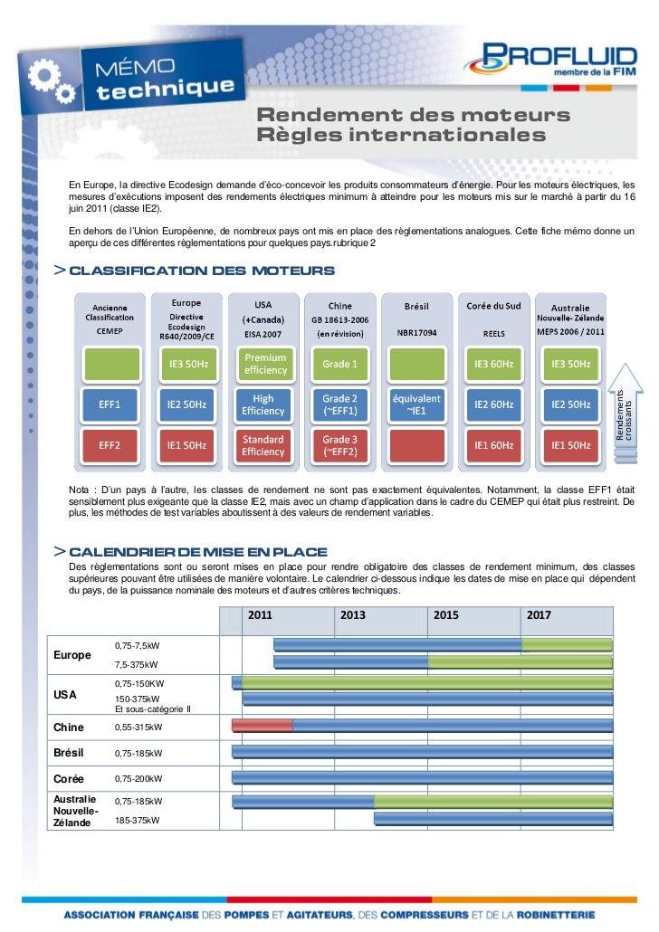 Rendement des moteurs                                              Règles internationales   En Europe, la directive Ecodes...