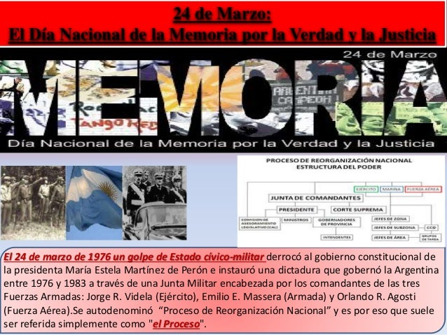 24 de Marzo:  El Día Nacional de la Memoria por la Verdad y la Justicia  El 24 de marzo de 1976 un golpe de Estado cívico-...