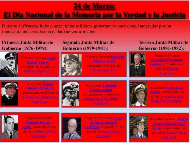 24 de Marzo:  El Día Nacional de la Memoria por la Verdad y la Justicia  Durante el Proceso hubo cuatro juntas militares g...