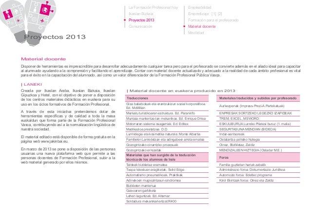 La Formación Profesional hoy Ikaslan Bizkaia Proyectos 2013 Comunicación Proyectos 2013 Material docente LANEKI|| Creada p...