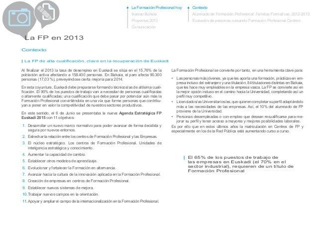 La Formación Profesional hoy Ikaslan Bizkaia Proyectos 2013 Comunicación La FP en 2013 Contexto La Formación Profesional s...