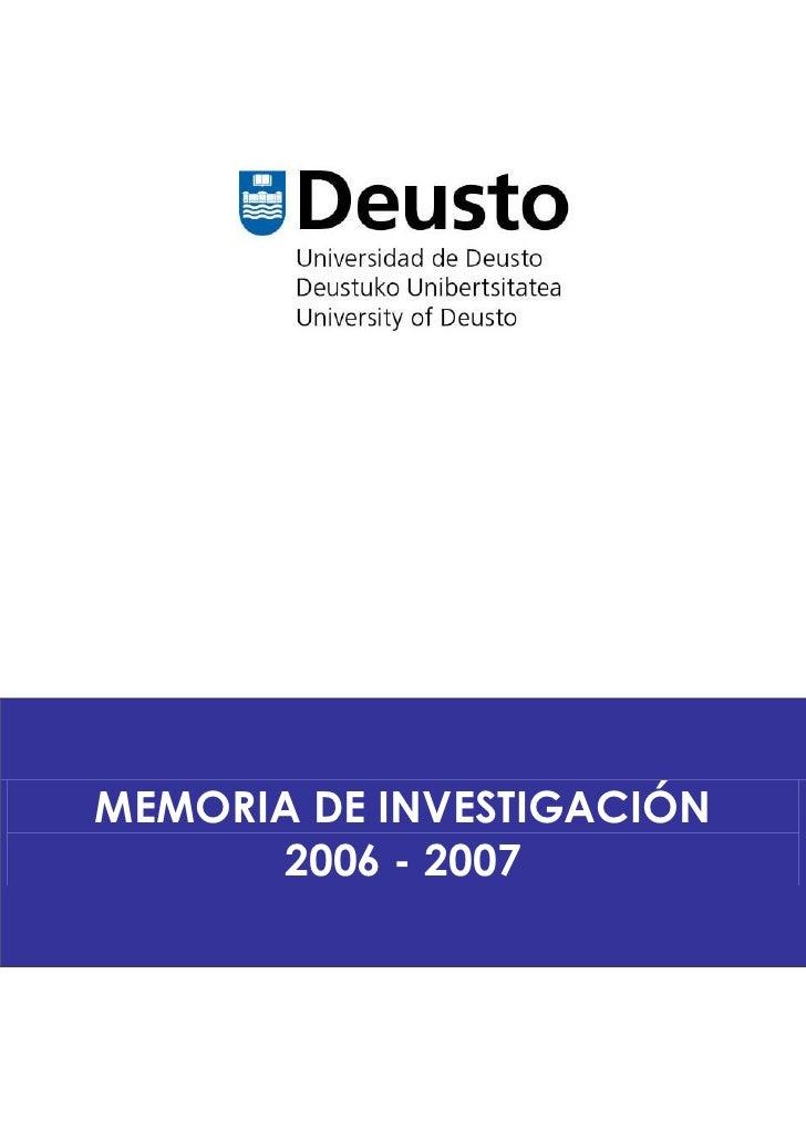 MEMORIA DE INVESTIGACIÓN      2006 - 2007