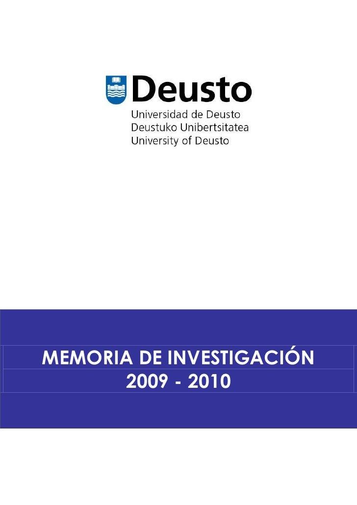 MEMORIA DE INVESTIGACIÓN      2009 - 2010