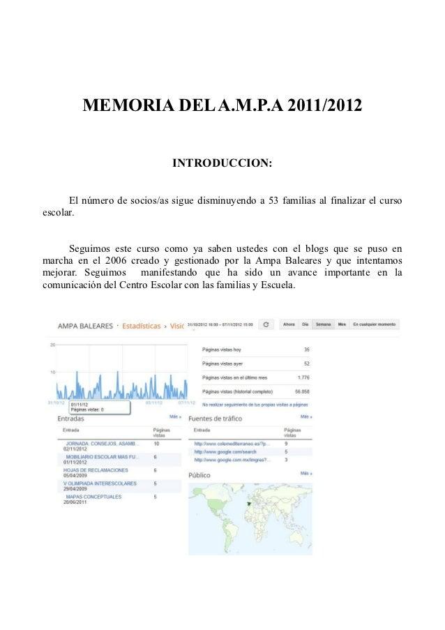 MEMORIA DEL A.M.P.A 2011/2012                             INTRODUCCION:      El número de socios/as sigue disminuyendo a 5...
