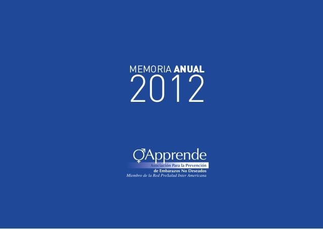 2012 MEMORIA ANUAL  APPRENDE - MEMORIA ANUAL 2012  1