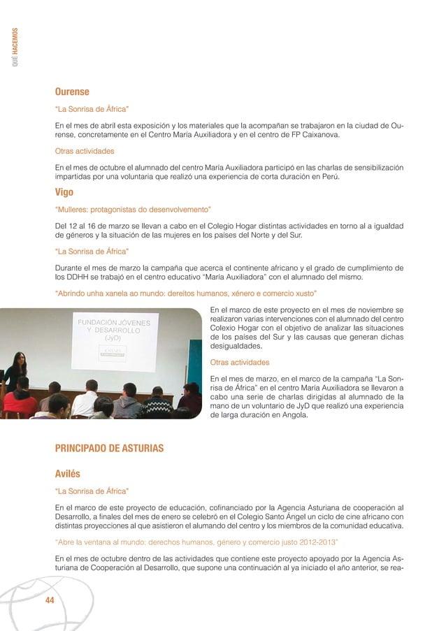 """QUÉHACEMOS 44 Ourense """"La Sonrisa de África"""" En el mes de abril esta exposición y los materiales que la acompañan se traba..."""