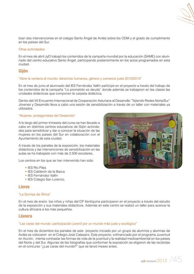 lizan dos intervenciones en el colegio Santo Ángel de Avilés sobre los ODM y el grado de cumplimiento en los países del Su...