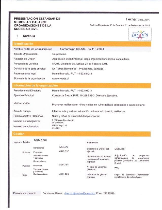 PRESENTACIÓN ESTÁNDAR DE MEMORIA Y BALANCE ORGANIZACIONES DE LA SOCIEDAD CIVIL Carátula Período Reportado: FeCha: Mayo,2o1...