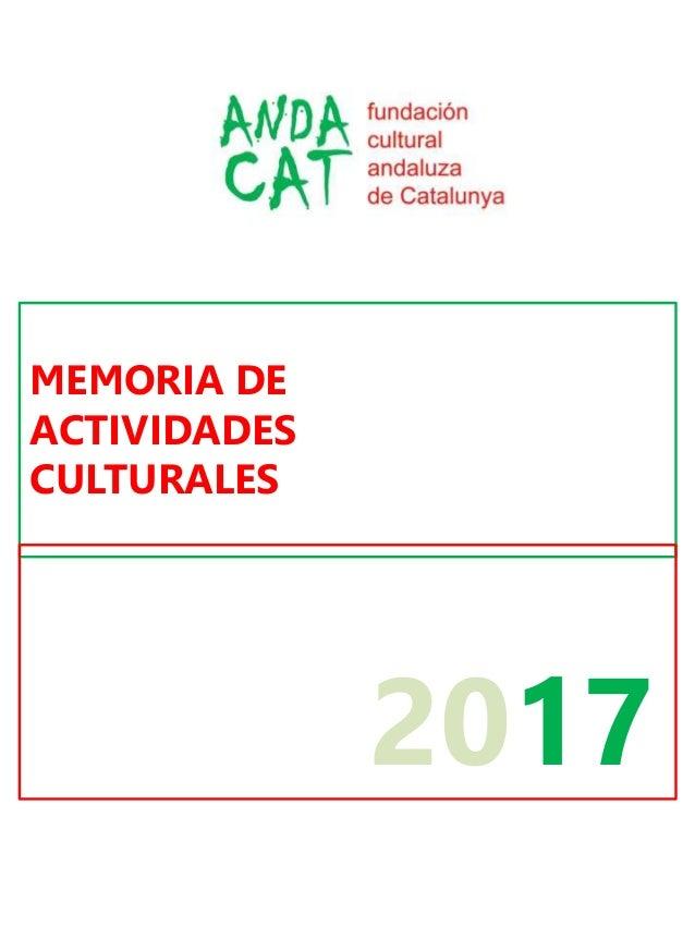 MEMORIA DE ACTIVIDADES CULTURALES 2017