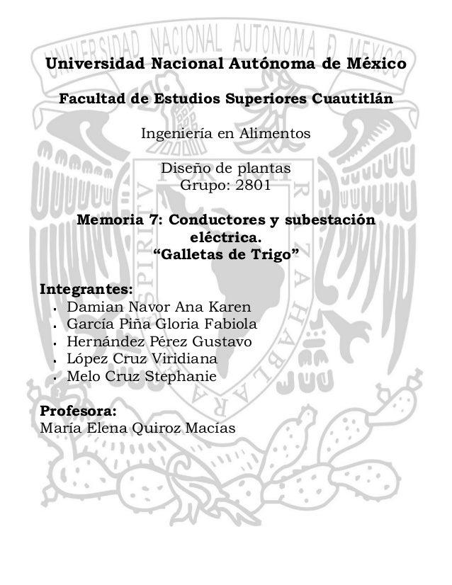 Universidad Nacional Autónoma de México Facultad de Estudios Superiores Cuautitlán Ingeniería en Alimentos Diseño de plant...