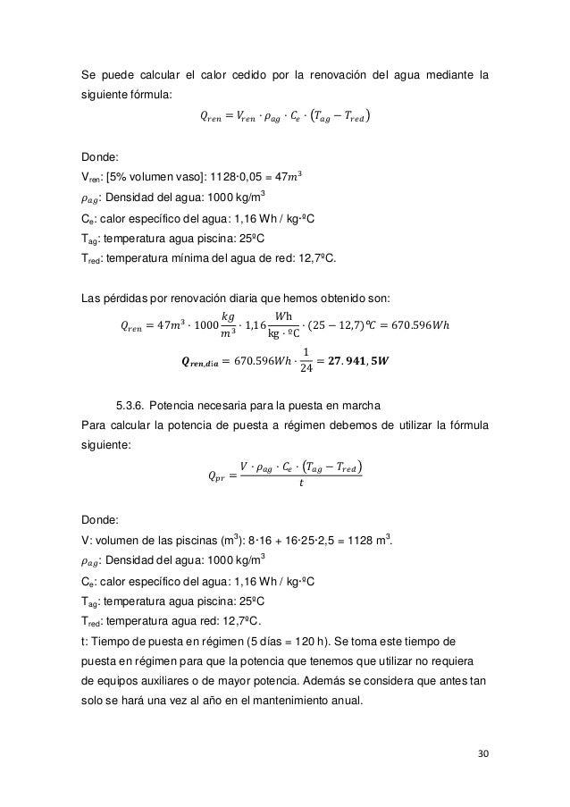 Memoria aclimatizacion pisna for Calcular volumen piscina