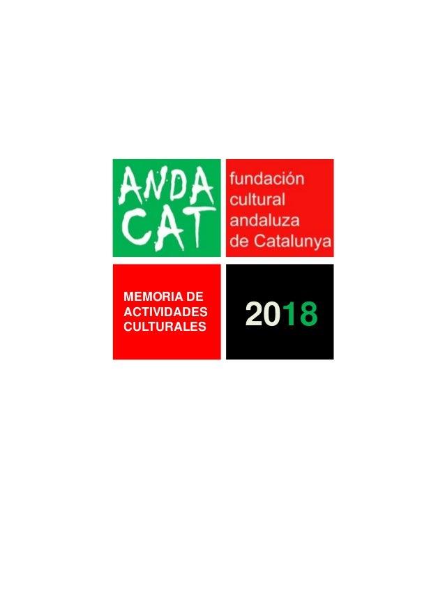 MEMORIA DE ACTIVIDADES CULTURALES 2018