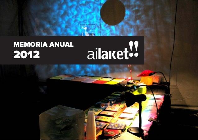 1. Ai Laket!! C/ Herrería nº 88, bajo · 01001 Vitoria-Gasteiz · (+34) 945 23 15 60 · www.ailaket.comMEMORIA ANUAL2012