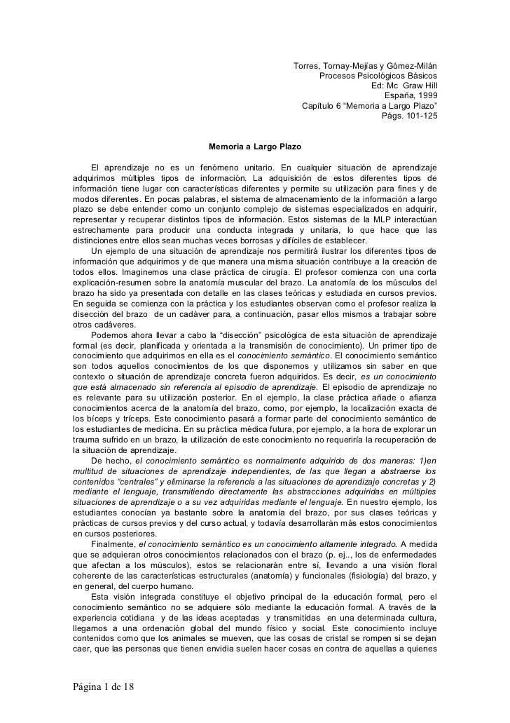 Torres, Tornay-Mejías y Gómez-Milán                                                                 Procesos Psicológicos ...