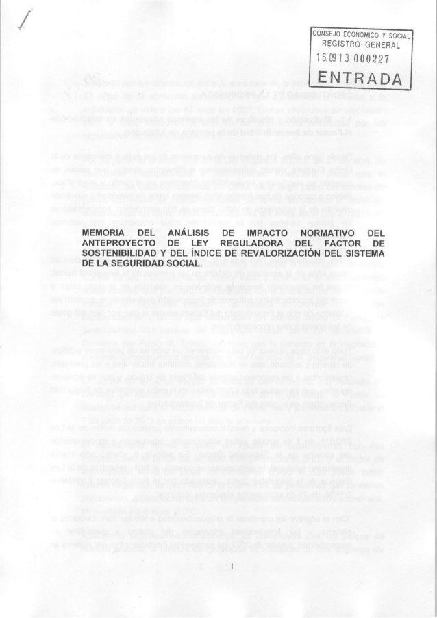 ONSEJOECONOMICOY SOCIAL REGISTROGENERAL 16.m13 000227 ENTRADA MEMORIA DEL ANÁLISIS DE IMPACTO NORMATIVO DEL ANTEPROYECTODE...