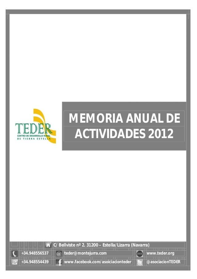 MEMORIA ANUAL DE ACTIVIDADES 2012 C/ Bellviste nº 2. 31200 – Estella/Lizarra (Navarra) +34.948556537 teder@montejurra.com ...