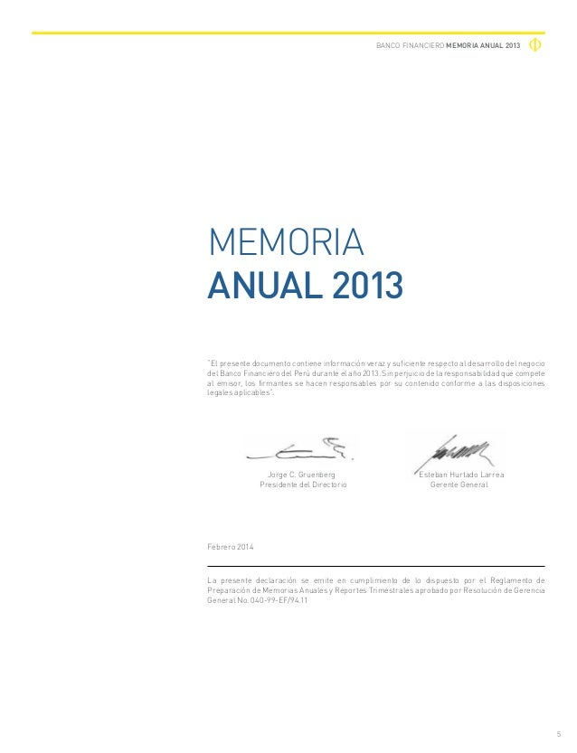 banco financiero del per memoria anual 2013