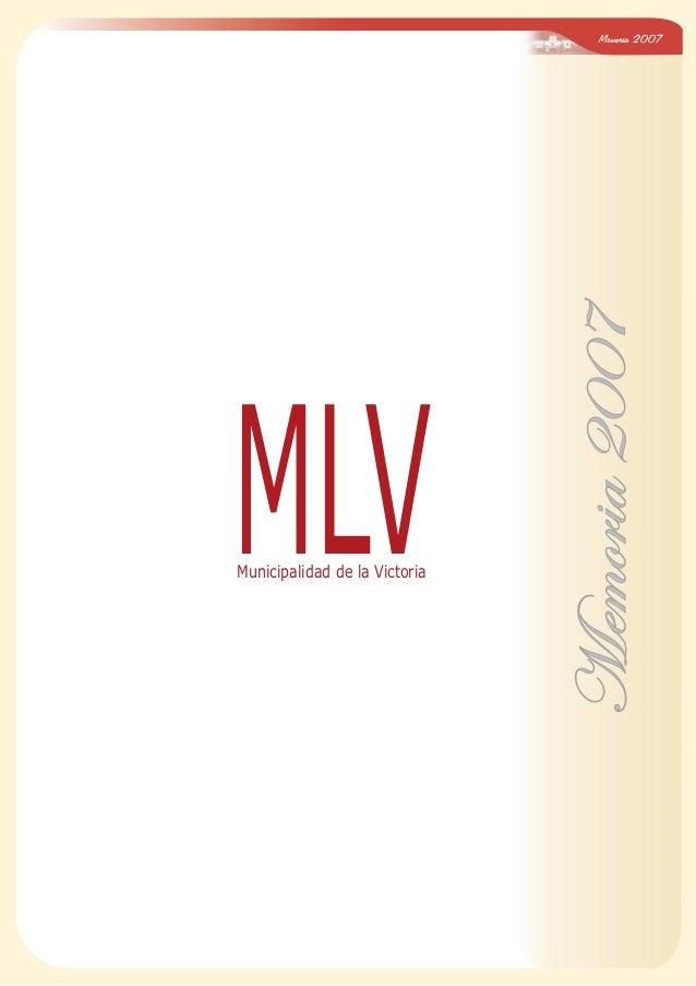 Memoria 2007 Memoria2007 MLVMunicipalidad de la Victoria
