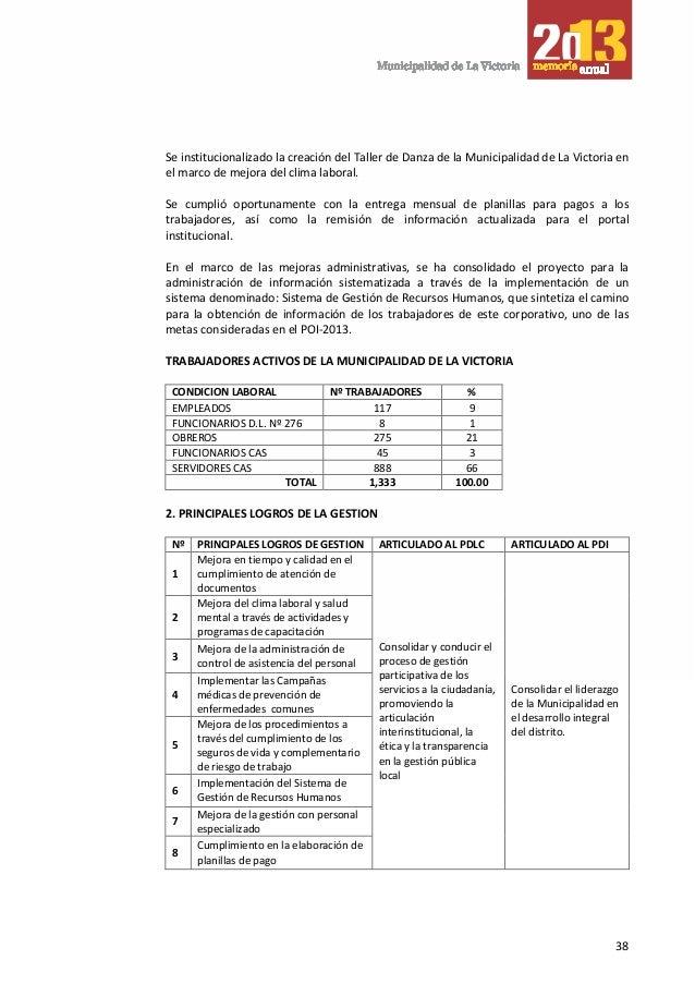 Memoria anual Municipalidad Distrital de La Victoria 2013 Alberto San…