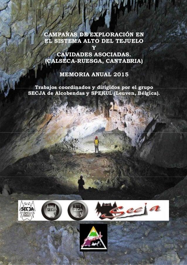 CAMPAÑAS DE EXPLORACIÓN EN EL SISTEMA ALTO DEL TEJUELO Y CAVIDADES ASOCIADAS. (CALSECA-RUESGA, CANTABRIA) MEMORIA ANUAL 20...