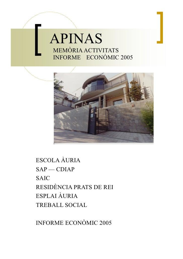 APINAS      MEMÒRIA ACTIVITATS      INFORME ECONÒMIC 2005     ESCOLA ÀURIA SAP — CDIAP SAIC RESIDÈNCIA PRATS DE REI ESPLAI...