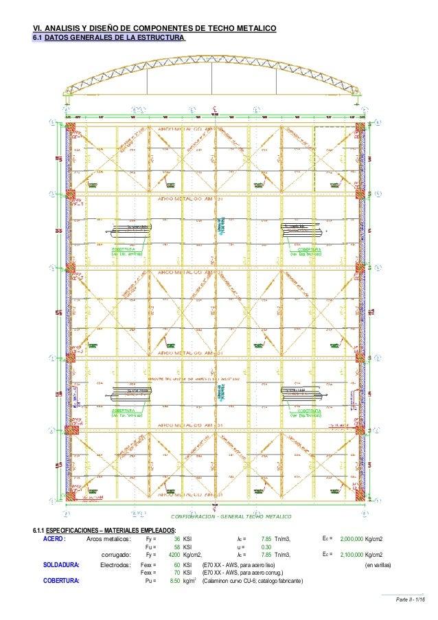 VI. ANALISIS Y DISEÑO DE COMPONENTES DE TECHO METALICO6.1 DATOS GENERALES DE LA ESTRUCTURA                                ...