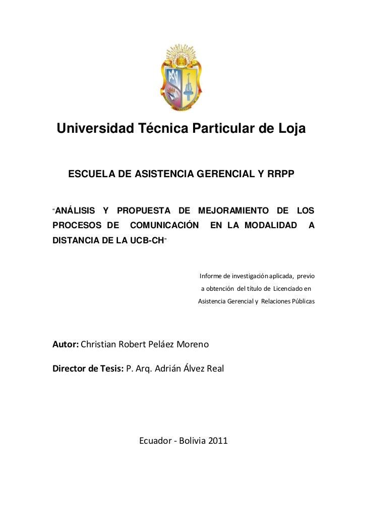 """Universidad Técnica Particular de Loja    ESCUELA DE ASISTENCIA GERENCIAL Y RRPP""""ANÁLISIS   Y PROPUESTA DE MEJORAMIENTO DE..."""