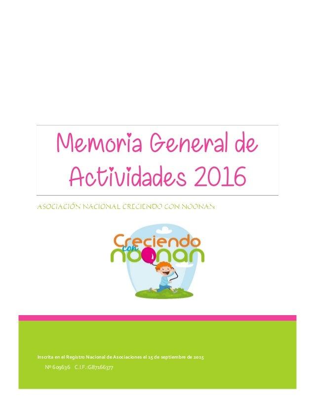 Inscrita en el Registro Nacional de Asociaciones el 15 de septiembre de 2015 Nº 609636 C.I.F.:G87166377 Memoria General de...