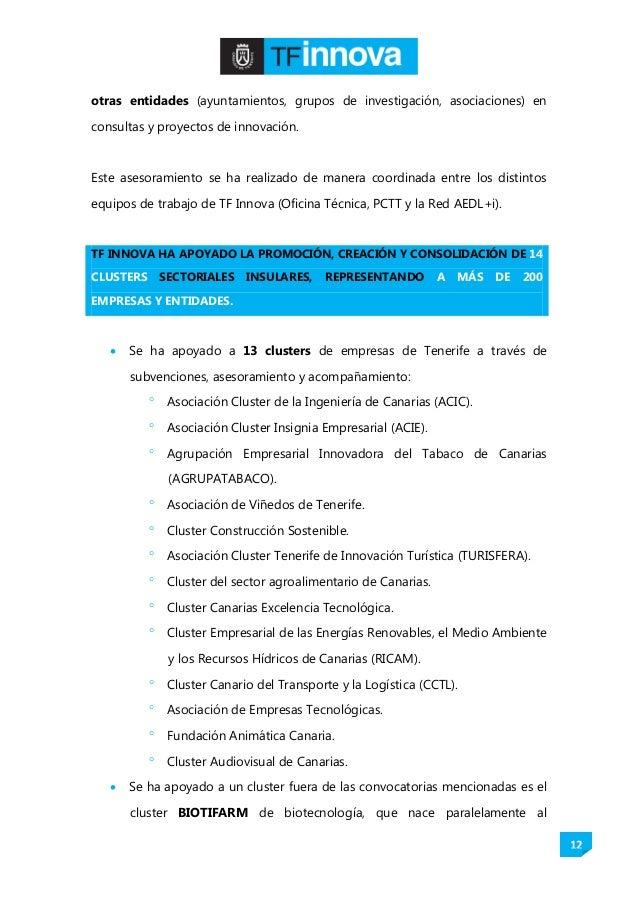 12 otras entidades (ayuntamientos, grupos de investigación, asociaciones) en consultas y proyectos de innovación. Este ase...