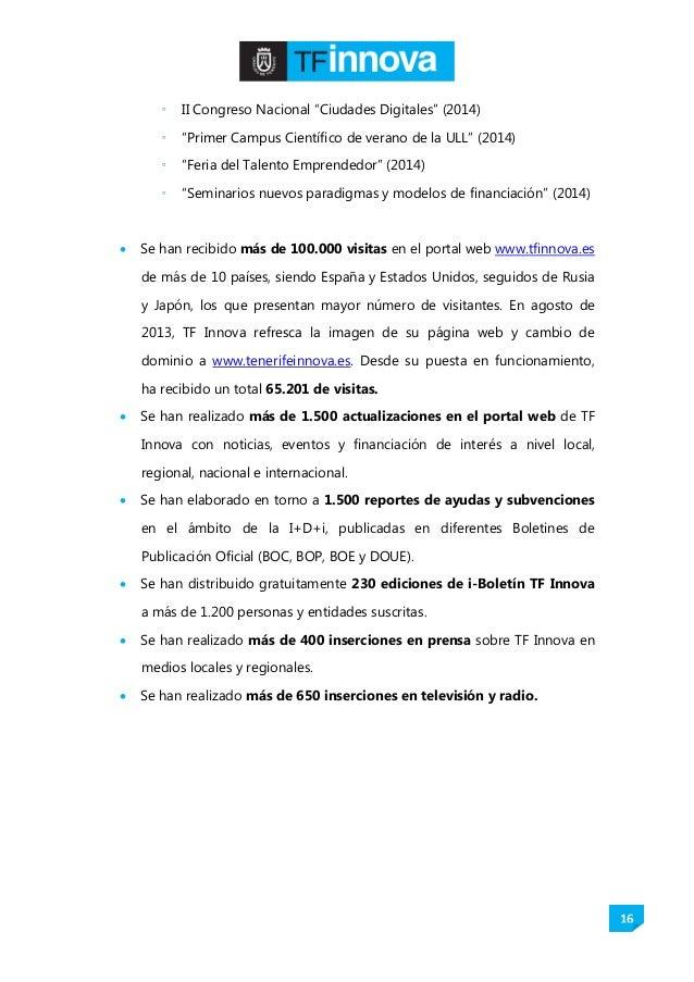 """16  II Congreso Nacional """"Ciudades Digitales"""" (2014)  """"Primer Campus Científico de verano de la ULL"""" (2014)  """"Feria del..."""