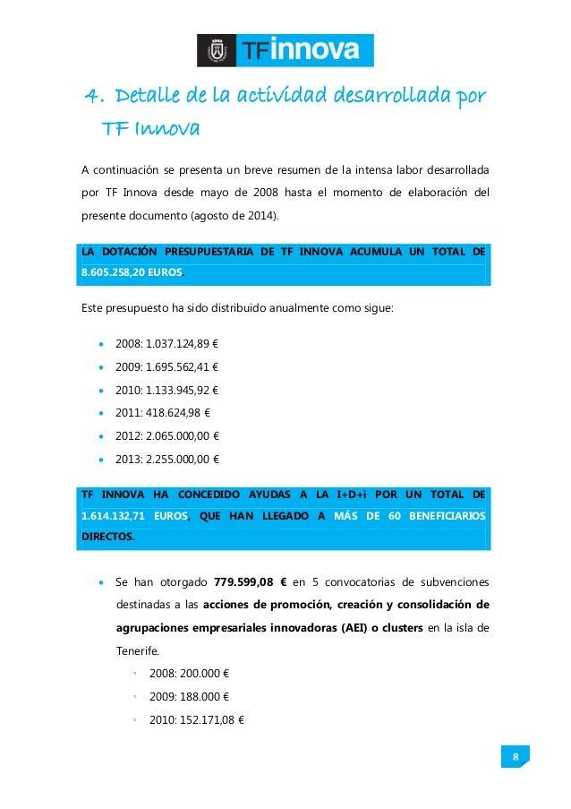 8 4. Detalle de la actividad desarrollada por TF Innova A continuación se presenta un breve resumen de la intensa labor de...