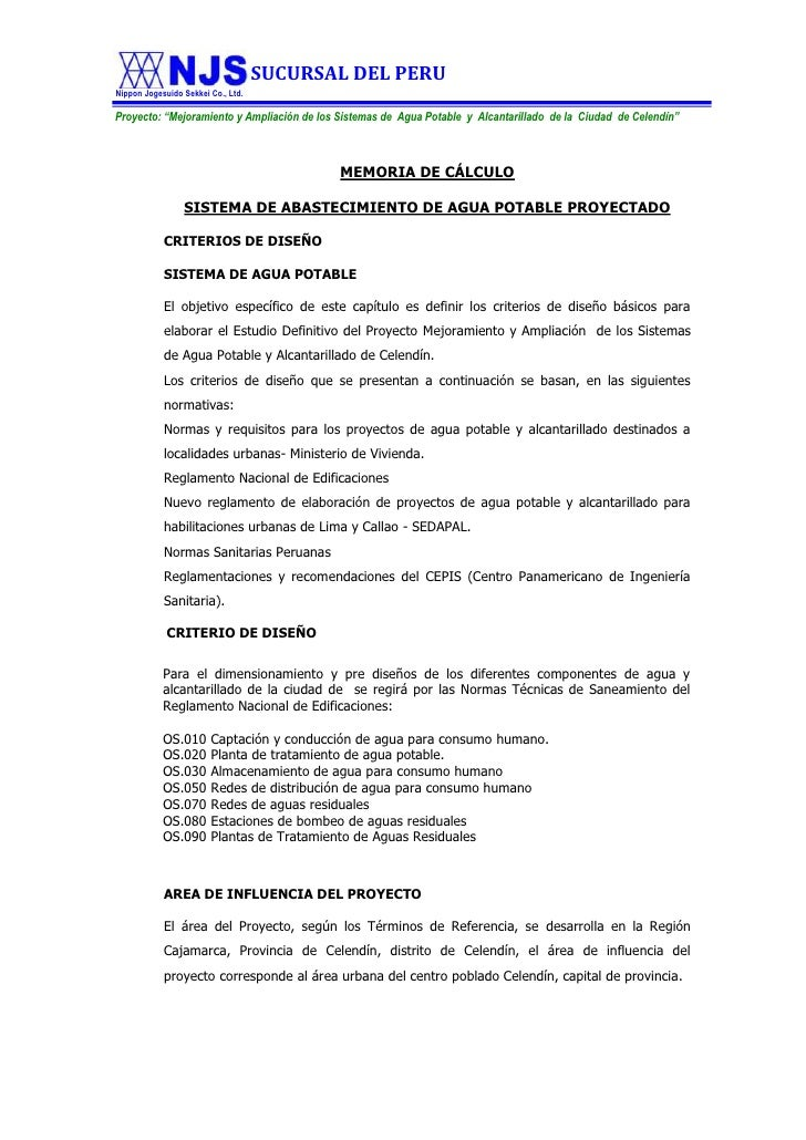 MEMORIA DE CÁLCULO <br />SISTEMA DE ABASTECIMIENTO DE AGUA POTABLE PROYECTADO<br />CRITERIOS DE DISEÑO<br />SISTEMA DE AGU...