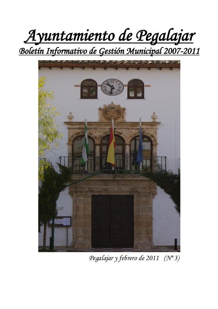 Ayuntamiento de PegalajarBoletín Informativo de Gestión Municipal 2007-2011                   Pegalajar y febrero de 2011 ...